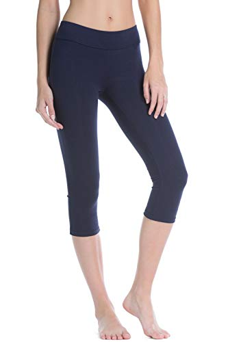 (Fishers Finery Women's Ecofabric Classic Athletic Workout Yoga Capri (Navy,)