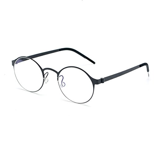 SO SMOOTH WIND B-Titanium Light Eyeglasses Frame Round Screwless Glasses Prescription Eyewear Frame R1104(Black,Demo clear - Titanium Eyeglass Mens Frames