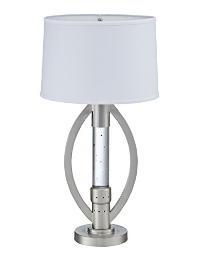 Homelegance Lucian Satin Nickel Metal Finish Table lamp with Ellipse Shaped Frame Sparkling Decorative Drop Dancing Water Mood, Night Light
