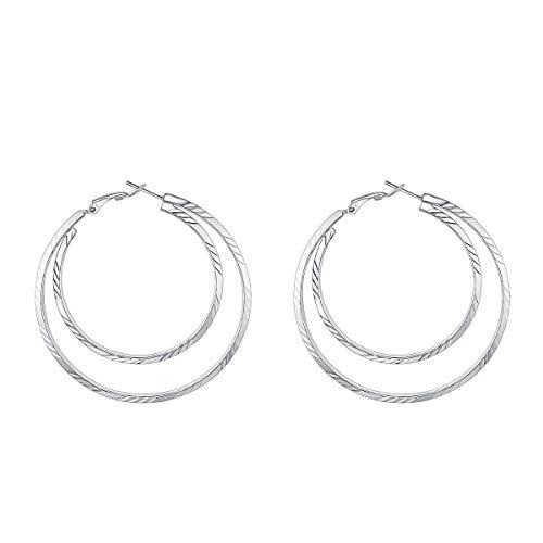 FOCALOOK Hoop Earrings Surgical Stainless Steel Geometric Metal Statement 60MM Large Big Double Endless Circle Round Huggie Hoop - Hoop Gold Double Round