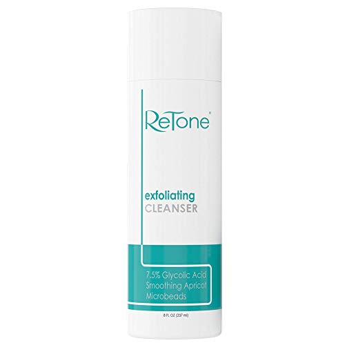 ReTone Keratosis Pilaris Exfoliating Body Cleanser Wash (8 oz) for KP treatment, Body Acne - Gentle Glycolic acid wash to exfoliate and soften rough, bumpy skin.