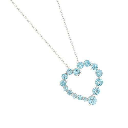 Pinctore Sterling Silver 3.09ctw Swiss Blue Topaz Heart Pendant 0.93'L with 18' Chain Blue Topaz Pendant 18' Chain
