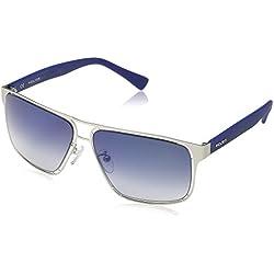 Policía de los hombres s8955m 60581b rectangular anteojos de sol, mate palledium, color Azul, talla 60 mm