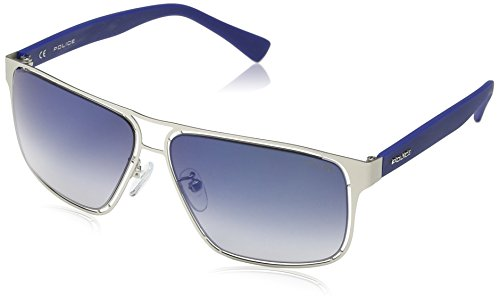 Police Men's S8955M 60581B Rectangular Sunglasses, Matte Palledium,Blue & Blue Mirror, 60 - Police Prescription Sunglasses