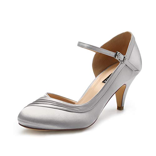 ERIJUNOR E2699 Kitten Heels for Women Comfortable Low Heel Closed Toe Satin Evening Dress Wedding Shoes with Ankle Strap Silver Size 11 ()