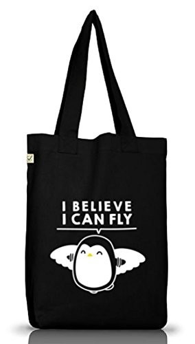 Lustiger Jutebeutel Stoffbeutel Earth Positive I Believe I Can Fly Black UiuNo
