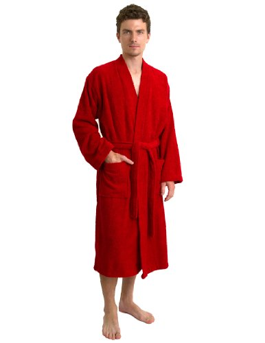 (TowelSelections Men's Robe, Turkish Cotton Terry Kimono Bathrobe Large/X-Large Red )