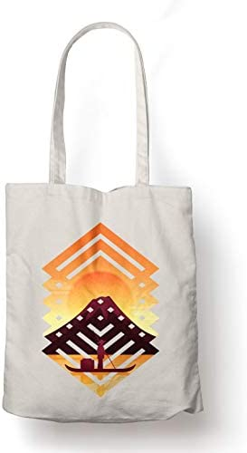 BLAK TEE Abstract Asian Landscape Organic Cotton Reusable Shopping Bag Natural