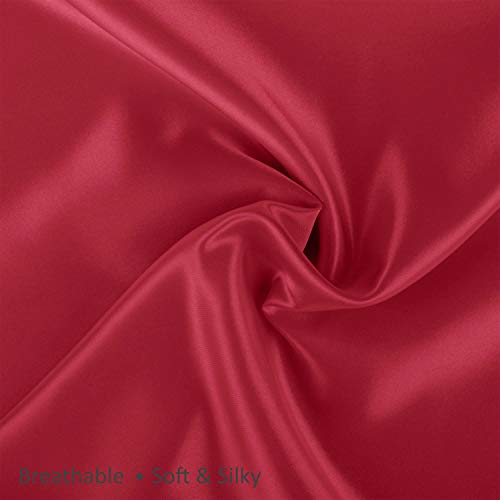 ShopBedding Luxury Satin Pillowcase for Hair - Standard Satin Pillowcase with Zipper, Red (1 per Pack) - Blissford