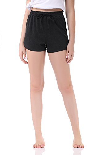 Pau1Hami1ton Women's Casual Elastic Waist Summer Shorts Jersey Walking Shorts GP-04(XL,Grey)