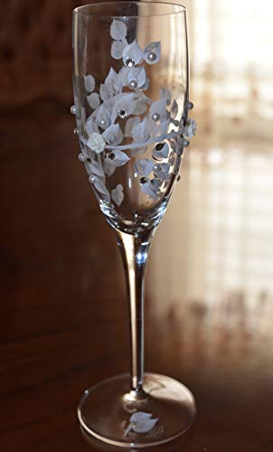 Champagne Glasses Hand Painted with Swarovski Crystals, Pearls, and Rose Cabachons Set of 2