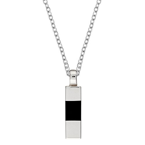 Silverly Men's .925 Sterling Silver Black Onyx Geometric Long Contemporary Pendant Necklace, 46 cm (Geometric Onyx Necklace)
