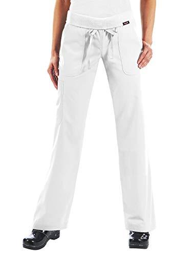 KOI Women's Size Tall Morgan Ultra Comfy Yoga-Style Cargo Scrub Pants, White, Large -