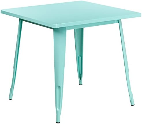 Flash Furniture Commercial Grade 31.5″ Square Mint Green Metal Indoor-Outdoor Table