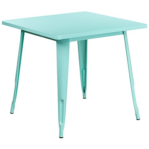 Flash Furniture 31.5'' Square Mint Green Metal Indoor-Outdoor - Chair Outdoor Mint