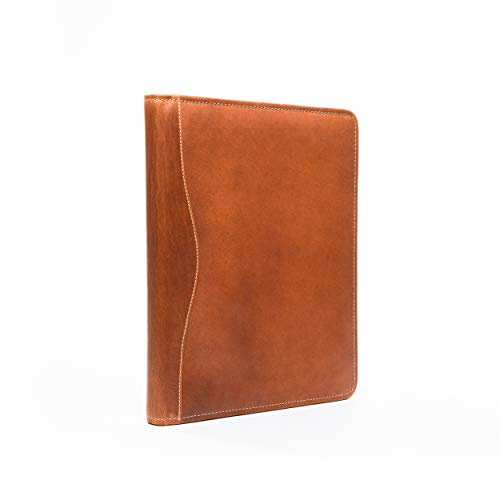 Leather Portfolio Folder and Meeting Folder, Full-Grain Tan Leather - Includes Metal Pen and Legal Pad - Perfect for Business, Resumes, and Business Card Holder