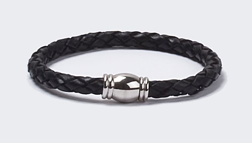 Black Genuine Leather Braided Bracelet (5.5mm) Stainless Steel Magnetic Locking Clasp