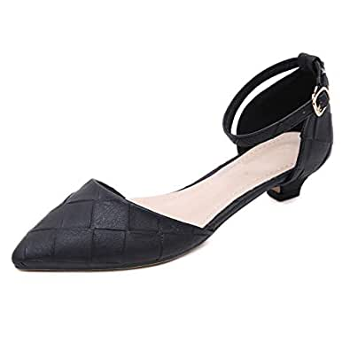 Orangetime Pointy Toe D'Orsay Shoes for Work OL Ankle Strap Buckle Pumps Womens Comfort Heels Shoes for Party Black 38