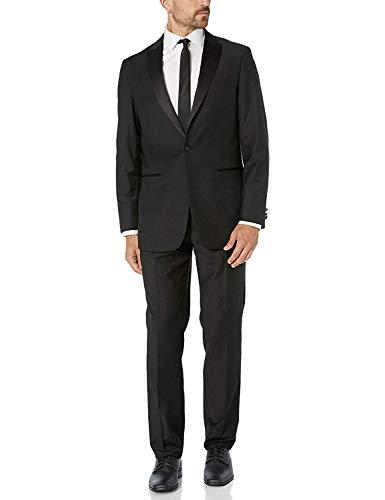 - Giorgio Fiorelli Men's G47815/1 One Button Modern Fit Two-Piece Peak Lapel Tuxedo Suit Set - Black - 40S