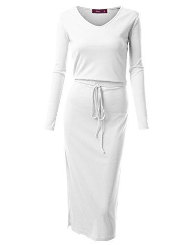 Doublju Long Sleeve Drawstring Waist V-Neck Cotton Blend Long Dress For Women With Plus Size WHITE (Drawstring Dress)