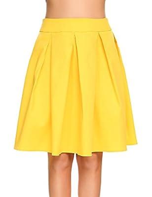 Shine Women Pleated Vintage High Waisted A line Skirts Skater Full Midi Skirt