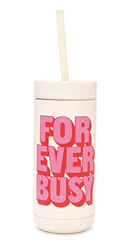 Ban.do Women's Stainless Steel Tumbler with Reusable Silicone Straw, 16 Ounces, Forever Busy