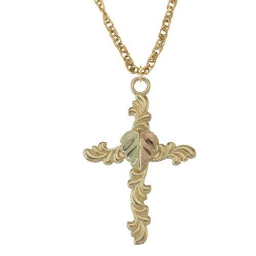 Black Hills Gold 10k Cross Pendant Necklace with 12k Split Leaf ()