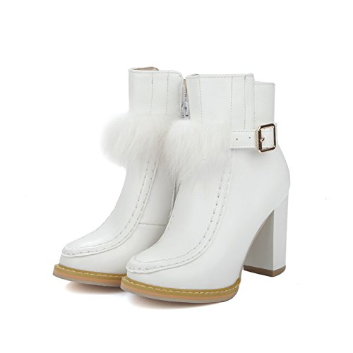 BalaMasa Imitated Leather Boots Buckle Ladies Chunky Heels White Zipper vZrv1H