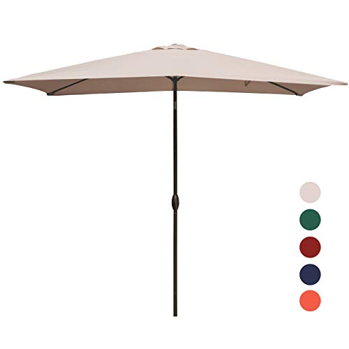 (KINGYES Rectangular Patio Table Umbrella Garden Umbrella with Tilt and Crank for Outdoor, Beach Commercial Event Market, Camping, Swimming Pool (6.6 by 9.8 Ft, Beige))