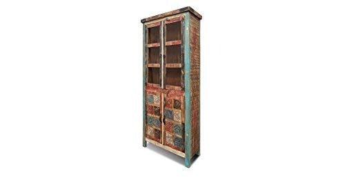 Crafters and Weavers La Boca Carved Reclaimed Wood China Cabinet or - Hutch Carved Hand