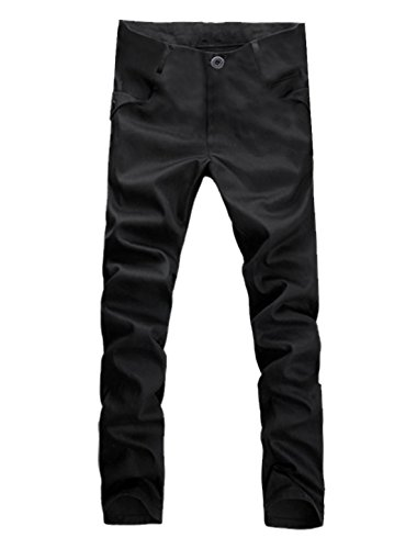 Flap Pocket Trousers - uxcell Mens Casual Back Flap Pockets Fashion Straight Trousers Black W30