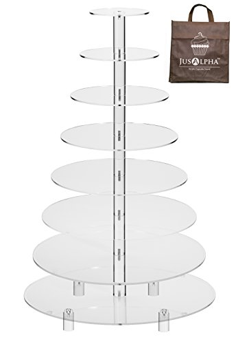 Jusalpha 8 Tier Wedding Party Acrylic Round Cake Stand/ Cupcake Stand Tower/ Dessert Stand/ Pastry Serving Platter/ Food Display Stand For Big Event (8RF)