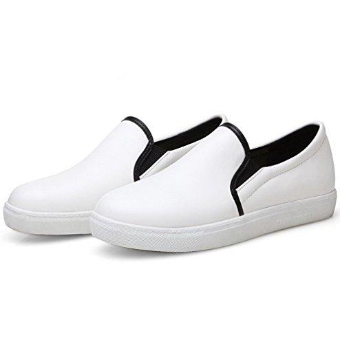 AllhqFashion Damen Rund Zehe Niedriger Absatz Rein Ziehen auf Pumps Schuhe Weiß