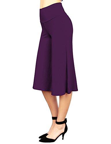Made By Johnny WB876 Womens Knit Culottes Pants XXL (Purple Capri Pants)