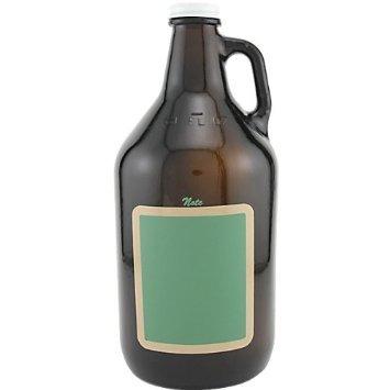 Catamount Glassware Growler Chalkboard Rectangle Beer Glass, 64-Ounce, Amber