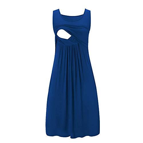 SSYUNO Breastfeeding Dress Women Casual Sleeveless Striped T-Shirt Pregnant Nursing Dress Knee Length Maternity Dress Blue ()