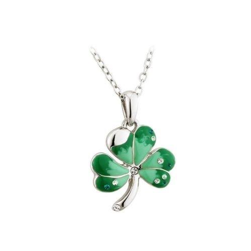 Shamrock Rhodium Plating & Green Enamel Pendant Irish Made