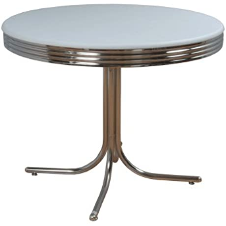 Target Marketing Systems Round Retro Dining Table With Chrome Accents White