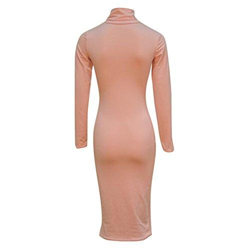 del Vestido Juleya vendaje alto del Bodycon largo cuello atractivo del del del del Rosado mujeres las abrigo cuello vestido Bodycon del de rRBxqzwr