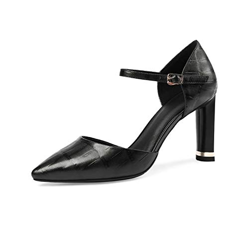 Correa Tamaño Verano Profundos Cuadrada Hoesczs Las 43 Cuero Genuino Sandalias Mujer Altos De Grande Poco Casual Oficina Tacones Zapatos Mujeres Black 33 nWXXq4gP