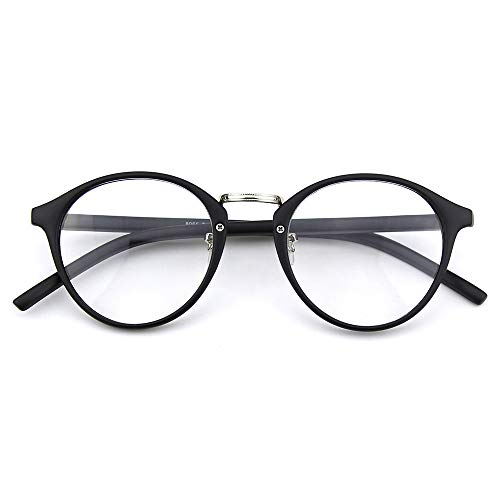 Happy Store CN65 Vintage Inspired Metal Bridge Round UV400 Clear Lens Glasses for Men and Women,Matte ()
