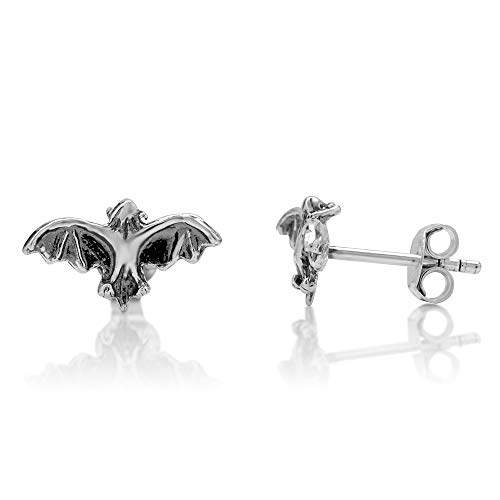 (925 Oxidized Sterling Silver Tiny Flying Bat 9 mm Post Stud)