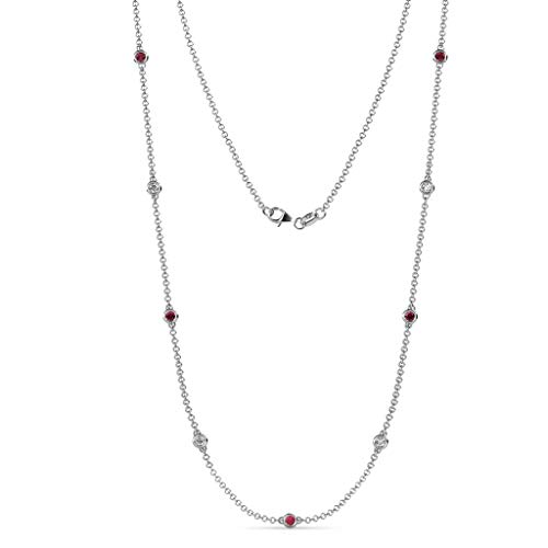 TriJewels Ruby and Diamond by the Yard 9 Stations Necklace (SI2-I1, G-H) 0.42 ct tw in 14K White Gold