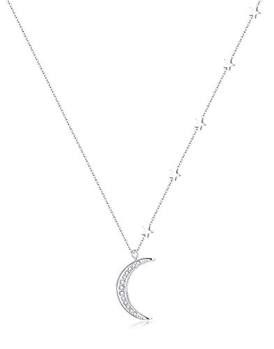 (Tornito Stainless Steel Star Moon Pendent Necklace Crescent Moon CZ Pendant Chain for Women Girls 18-20 Inches Silver Tone)