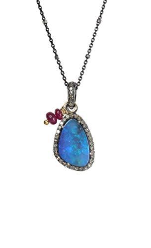 Australian Blue Boulder Opal Diamond Necklace- October Birthstone Birthday- Gift -