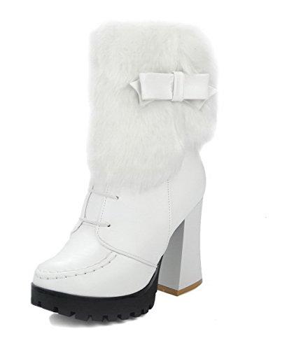 PU Closed Women's AmoonyFashion White Zipper Toe Solid Heels High Round Boots 0wA0IgTqn