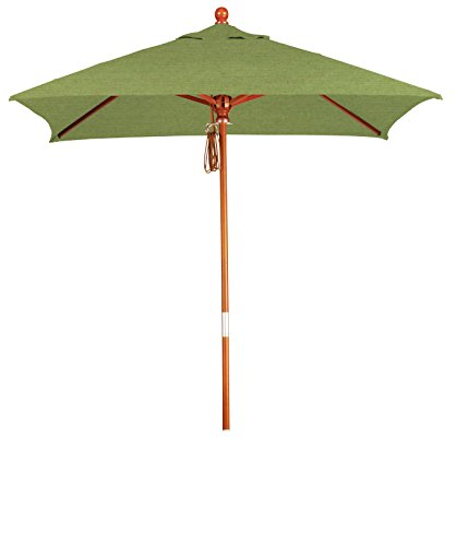 Eclipse Collection 6'x6' Wood Market Umbrella Pulley Open Marenti Wood/Sunbrella/Spectrum Cilantro