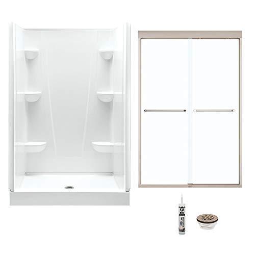 (A2 4834CS-134563-WN Shower Kit with Door 48-in L x 34-in W x 76-in H White/Brushed Nickel)