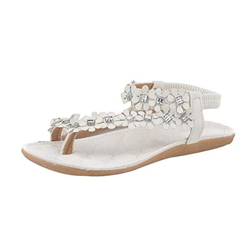Aniywn Women 2019 Summer Sandals,Ladies Bohemia Flower Beads Flip-Flop Shoes Flat Thong Sandals White