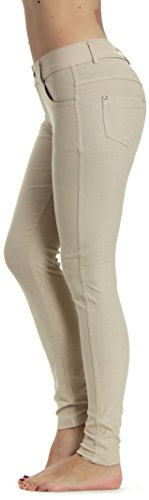 Low Rise Capri Leggings Pants - Prolific Health Women's Jean Look Jeggings Tights Slimming Many Colors Spandex Leggings Pants S-XXXL (Small (US Size 2-4), Beige)